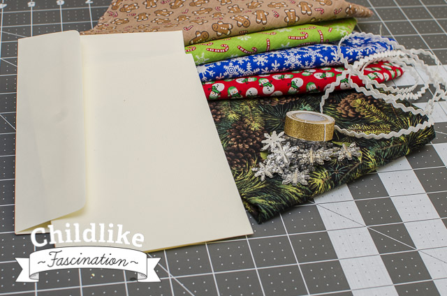 Fabric Pull for Sewn Christmas Cards