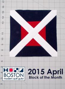 Boston Modern Quilt Guild - 2015 April BOM - Cross-Cut Block