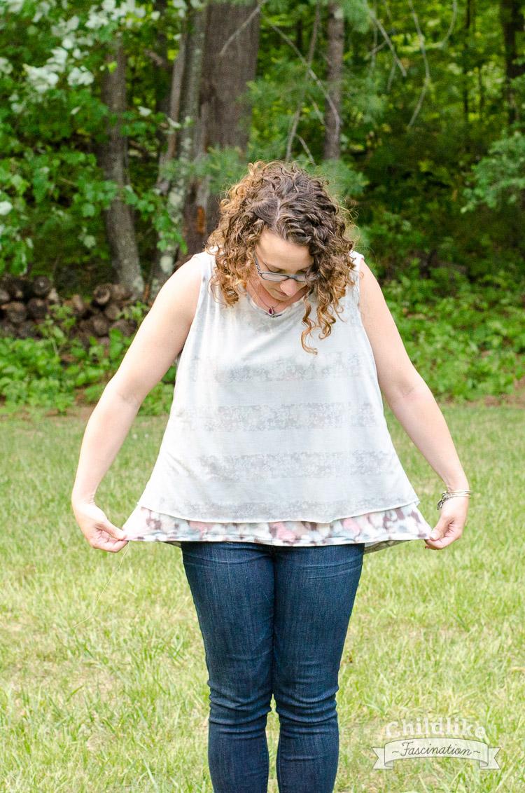 Flutter knit tank is huge on me! I don't think I'm a large after all!