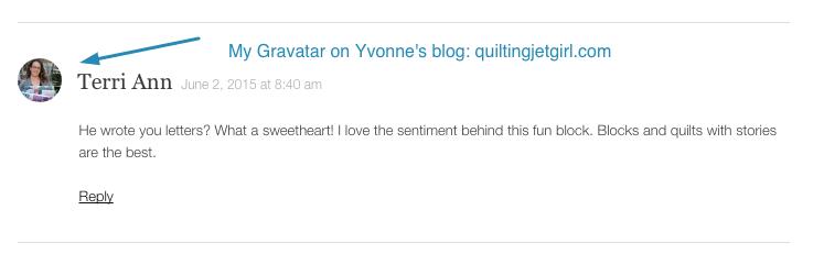 My Gravatar on Yvonne's blog quiltingjetgirl.com
