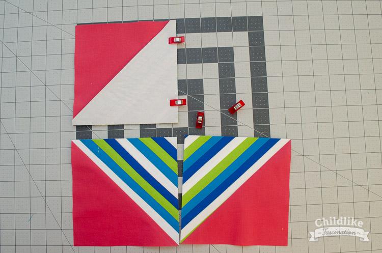 Sew HST blocks together