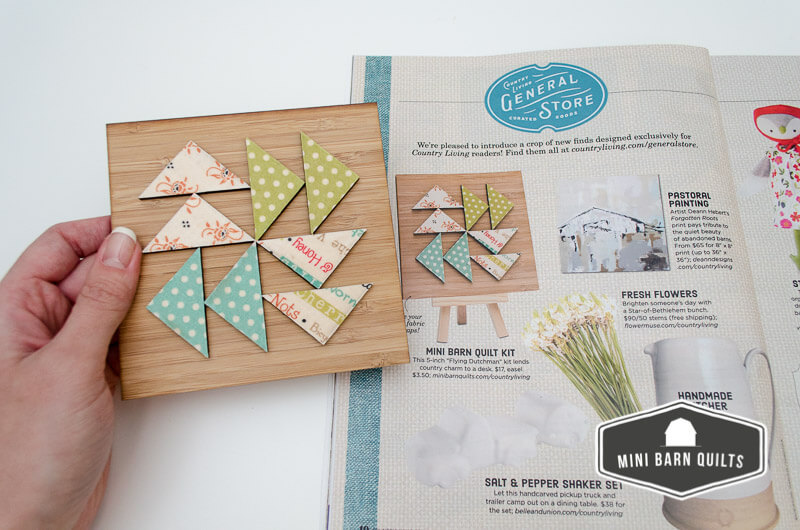 Mini Barn Quilts in Country Living Magazine's General Store Feature