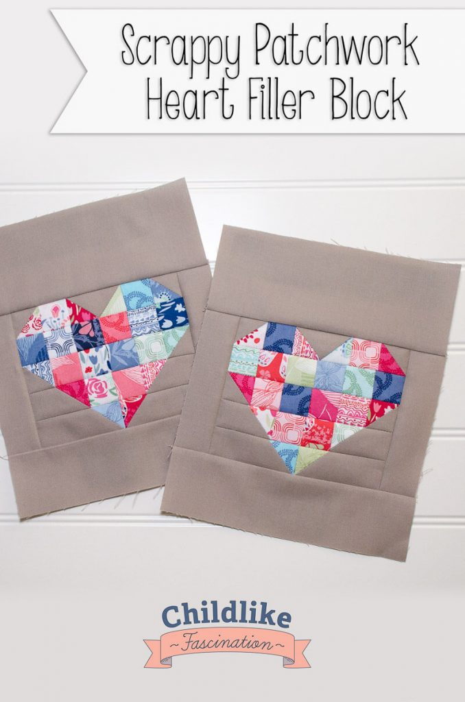 Easy Patchwork Heart Blocks 8 x 10 block!