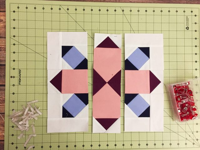 Sew units into rows