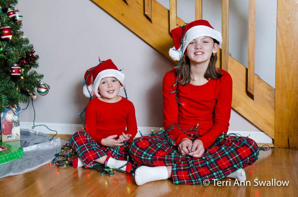 Hats and Lights Christmas Photo
